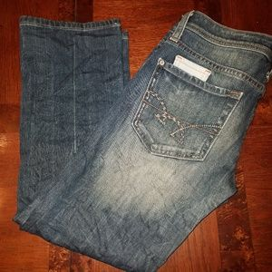 Washed Low Rise Crop Jeans